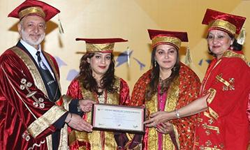 Chancellor awards honoris causa to famous film star and actress aya Prada - Desh Bhagat University